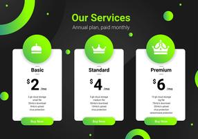 Pricing Table Green Interface Template.