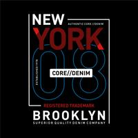 Tipografía denim de New York, Brooklyn core para estampado de camiseta