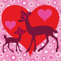 deer valentine vector with heart