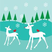 white deer scene vector graphic