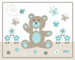 cute aqua baby bear flowers and butterflies graphic placment with polka dot background