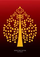 Golden Bodhi tree symbol Thai art style, vector illustration