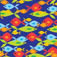 overlapping bright fish pattern on blue background