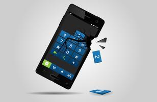 Broken mobile phone, vector