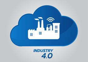 Industrial 4.0 koncept, Smart Factory Vector Icon. Wi Fi Plant illustration. Internet av saker (IoT) Industrial Technology.