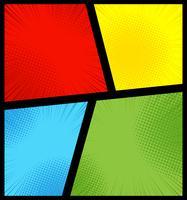 Fondo de páginas de cómics con radiales, efectos de medios tonos y rayos en estilo pop-art. Plantilla en blanco en colores verde, amarillo, azul y rojo.