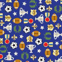sport balls and trophy pattern on blue background