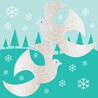 silver doves graphic on winter scene background