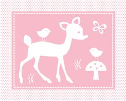 cute deer scene with birds on pink polka dot background