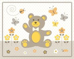 cute baby bear with yellow flowers and butterflies graphic placment with polka dot background