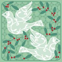 doves and holly vector graphic