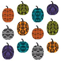 pumpkins with damask patterns