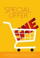 Panier d'achat, vente, illustration vectorielle