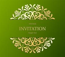 Elegant Save The Date card design. Vintage floral invitation card template. Luxury swirl mandala greeting  gold and green card