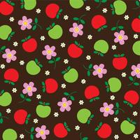 simple apples and pink flower pattern on brown background