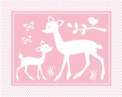 cute baby deer scene with birds and butterflies on pink polka dot background