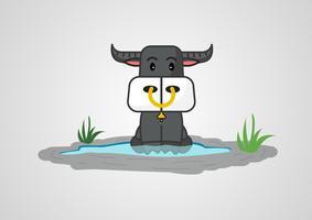 buffalo design simpatico cartone animato, illustrazione vettoriale.