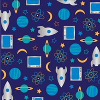 science rocket outer space pattern on blue background vector