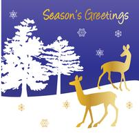 seasons greetings vector graphic winter scene with gold deer and trees