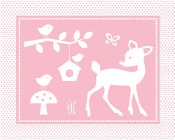 cute deer scene with birds and birdhouse on pink polka dot background