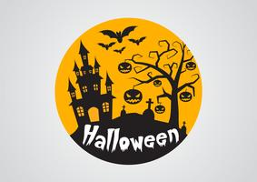 Halloween pumpkins and dark castle on background,Happy Halloween message design illustration.