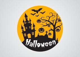 Calabazas de Halloween y castillo oscuro en el fondo, ejemplo del diseño de mensaje del feliz Halloween.