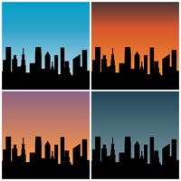 city skyline with  gradient sunset backgrounds