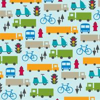 cute transportation pattern on blue background vector