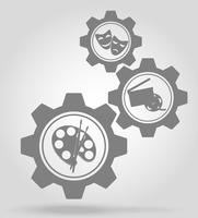art gear mechanism concept vector illustration