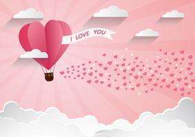 Liebe und Valentinstag, Origami ließ den Heißluftballon über Wolke mit Herz auf dem sky.paper Kunststil fliegen.