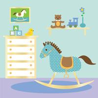 baby nursery with rocking horse vector