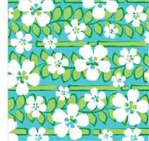 blue green tropical stripe with white flowers