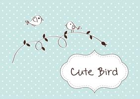 Retro spring card with cute bird