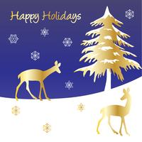 happy holidays graphic  with gold deer