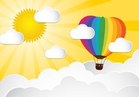 Origami made colorful hot air balloon and cloud.paper art style. vector