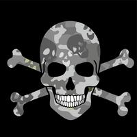aggressivt emblem med skalle
