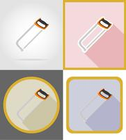 saw repair and building tools flat icons vector illustration
