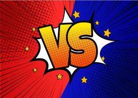 blue and red Versus VS letters fight backgrounds in flat comics style design with halftone