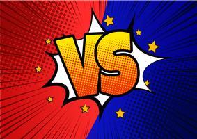 Blå och röda Versus VS-bokstäver slår bakgrunder i platt tegneserie stildesign med halvton