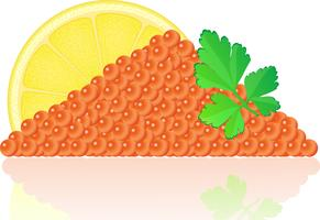 red caviar with lemon and parsley