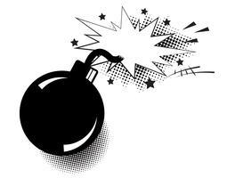 Bomba en estilo pop art y bocadillo cómico. Dinamita de dibujos animados en el fondo con puntos de semitono y rayos de sol.
