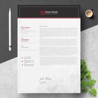 Briefkopfvorlage mit roten Details vektor