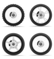 motorcycle wheel tire from the disk set icons vector illustration