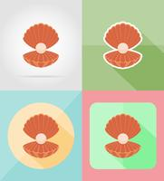 shell with pearl flat icons vector illustration