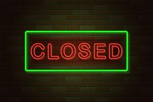 glowing neon signboard closed vector illustration