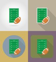 campo para rugby iconos planos vector illustration
