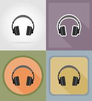 Auriculares acústicos iconos planos vector illustration