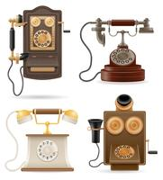 phone old retro set icons stock vector illustration