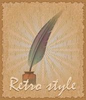retro style poster old feather and inkwell vector illustration