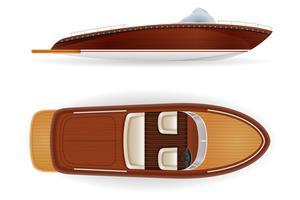 barco de motor vintage antiguo retro hecho de madera vector ilustración